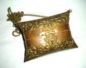 Embossed Metal Pillow Purse ~ Vintage ~ Bohemian Style ~ Brass - Copper & Velvet ~ Boho ~ Gypsy Style ~ Hippie Chic