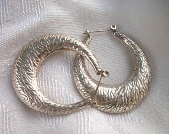 Vintage Big Sterling Silver - 925 - Pierced Hoop Earrings - Etched - Drop - Puffed