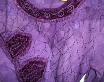 Vintage - Bohemian - Gypsy - Lush Grape - Hippie Dress - Velvet Cotton Embroidered - Royal Purple