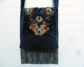 Victorian Gypsy Bag Purse Antique Cut Velvet Vintage Fabric