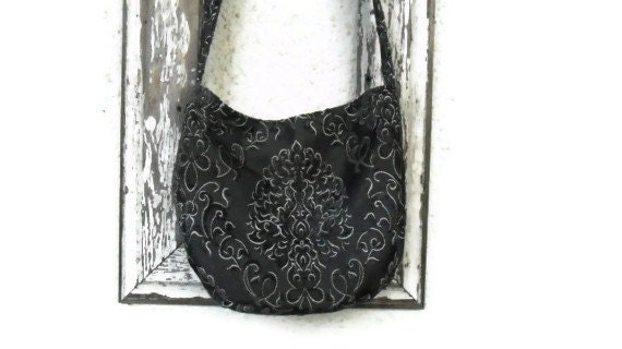 Gothic Victorian Bag Purse Bohemian Cut Chenille Damask Crossbody Messenger Slouchy Hobo