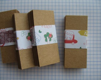 100  Tiny Kraft Paper Rectangle Tags (no hole) , Size 2  3/4 x 1  1/4 Inch or 7 x 3 cm.