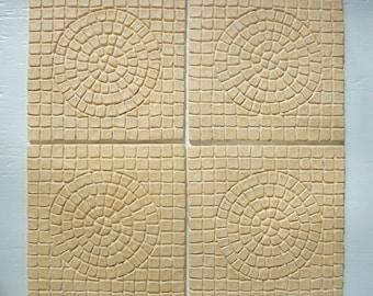 "Ceramic Mosaic Sun Tile -- 6"" x 6"" Psuedomosaic Tile -- Set of 4 in Stone Texture Ivory Beige Glaze, IN STOCK"