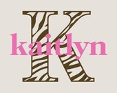 Zebra Print Monogram Initial with Personalized Name Vinyl Wall Decal