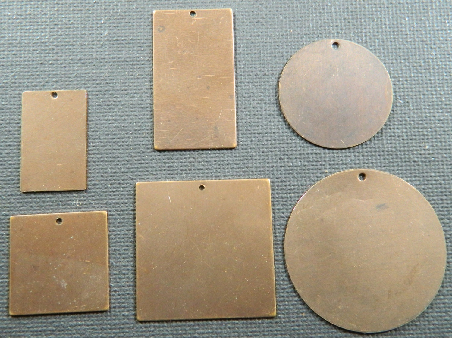 Set Of 6 Bronze Brass Sheet Metal Blanks For Jewelry Making