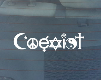 Coexist Religion Bumper Sticker / Window Decal
