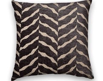 Grey Velvet Zebra Pillow Cover 20x20 Duralee Velvet Throw