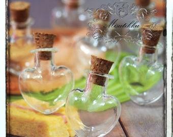 Set of 3-15 Pcs Mini Heart Glass Bottle Tiny Empty Vial Small Glass Bottles Jar with cork Bitty Bottle Vile w Free Vial Hook Screw Eye SP.LH