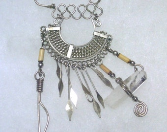 Vintage Silver Wire Quartz Crystal Tribal Pin Brooch