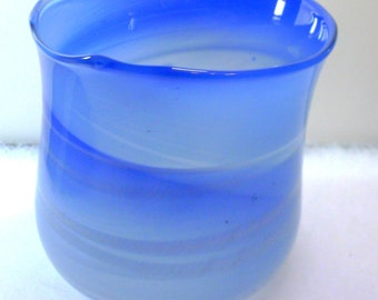 Swirling Blue Art Glass Vase 5 Inches Tall - signed