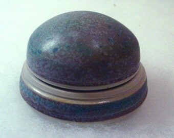 Round Aqua Purple Pottery Box with Lid - Hand Crafted Signed