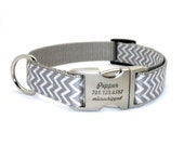 Chevron Stripe Laser Engraved Buckle Personalized Dog Collar - SILVER