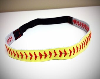 Fast Pitch Yellow Softball Seam Headband with Adjustable Elastic Band - a great jewelry accessory gift idea for the softball player or mom!