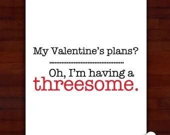 Greeting card: A threesome on Valentine's Day- humor, friends, anti-valentine, ice cream, liquor