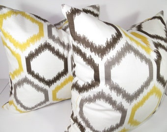 Decorative Ikat Pillow,Citrine Trellis Pillow-  Ikat Trellis Pillow-  Throw pillow , Ikat pillow, Yellow, Gray And Brown- White Pillow