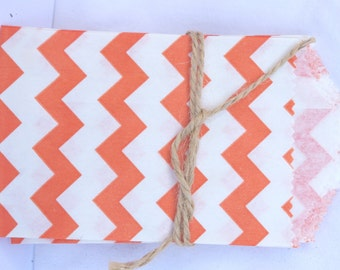 Tiny CHEVRON Bags--orange--party favors--gifts---weddings--showers--20ct-
