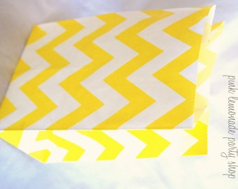 12 STanDing CHeVRoN BaGs--Yellow-packaging-gifts-party favors-