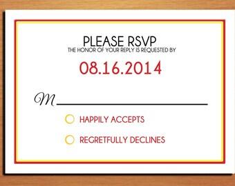 Modern Typography Fall / Autumn Wedding RSVP Postcard PRINTABLE / DIY