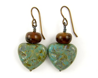 Turquoise Czech Glass Bead Earrings, Green Brown Rustic Earrings, Earthy Boho Horn and Rust Beaded Earrings |EC1-20