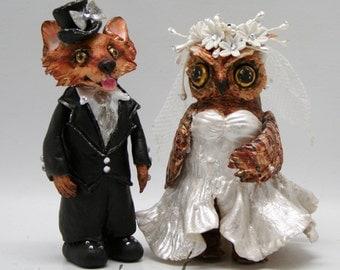 Custom cake topper weddings owl & fox handmade bride and groom