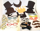26 Piece Photo Props for DIY Events DIY - With Glue Gun Sticks  Beard Photo Prop Mustache Photobooth Wedding Props