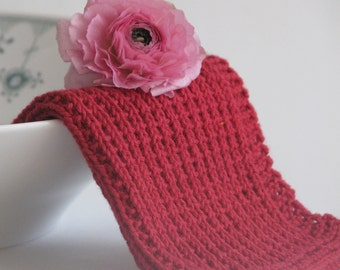 Hand knitted dish cloth - wash cloth - soft cotton dark red