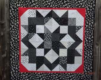 Black and White Carpenter's Star Quilt