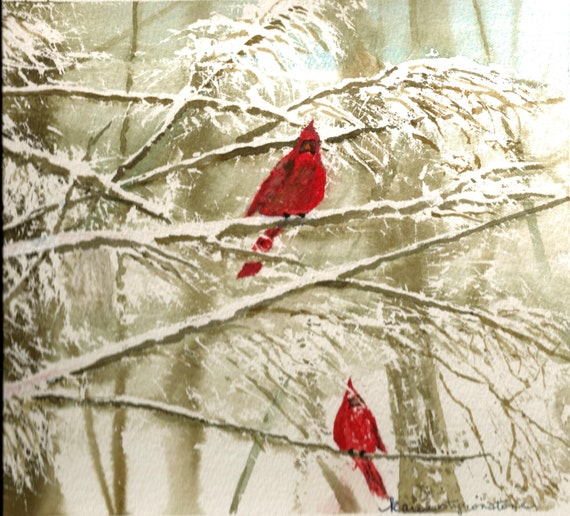 "Snowy, Cardinal, Print of Original Watercolor  ""Something in Red"""