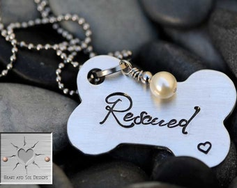 Dog Rescue Necklace - Mother's Day Gift - Dog Lover - Personalized Hand Stamped Necklace