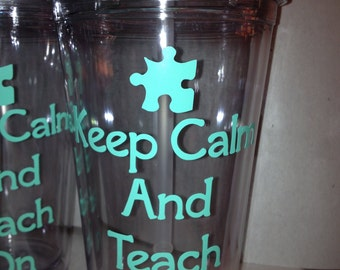 Personalized Autism Teacher Tumbler with Lid and Straw