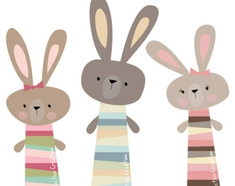 Three Little Rabbits Digital Clip Art - Personal and Commercial Use