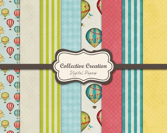 Vintage Hot Air Balloons Digital Paper Set - Commercial and Personal Use