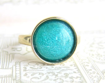 Teal Ring Gold Plated Aqua Blue Sea Green Modern Jewelry Dark Green Faux Gem Stone Ring Gift Fall Trends