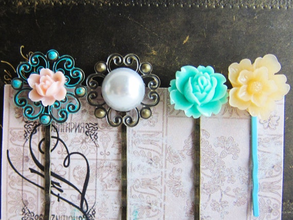 Hair Pins, Shabby Chic, Pastel Colors, Sweet French Romance, Patina Blue Turquoise Mint, Pearl, Peach, Pink