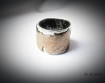 Beauty for Ashes Silver and Bronze Art Statement Ring,Sterling Silver Ring with Torn Metal of Bronze soldered ontop. Unique, OOAK,