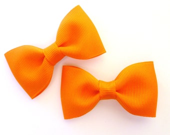 2 orange pigtail hair bows--tuxedo bow tie accessories for baby toddler big girls