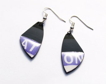 purple earrings recycled plastic earrings simple earrings cool earrings hypoallergenic small earrings modern jewelry vinyl record earrings