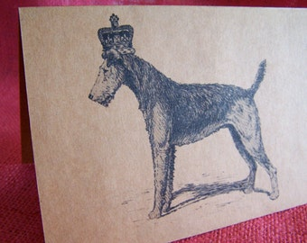 Airedale Terrier Dog With Crown Set of ANY 3 Greeting Note Cards Invitations Kraft Cardstock matching envelopes 5 x 7""