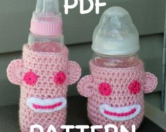 INSTANT DOWNLOAD - Crochet Sock Monkey Baby Bottle Cozy Pattern  -  Sock Monkey Cozy - 2 patterns - Short or Tall Bottle