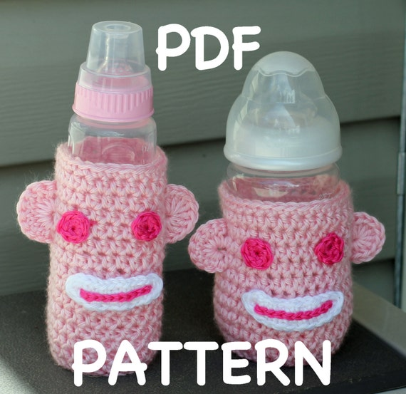 INSTANT DOWNLOAD - Crochet Sock Monkey Baby Bottle Cozy Pattern  -  Sock Monkey Cozy - 2 patterns - Short or Tall Bottle