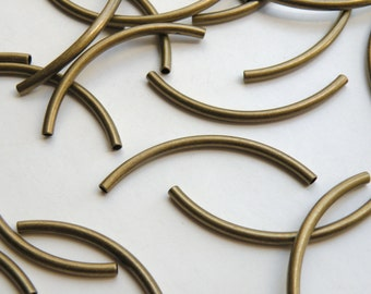 10 Curved tubes spacer bars antique bronze brass Steampunk vintage inspired 50x3mm 2092BB