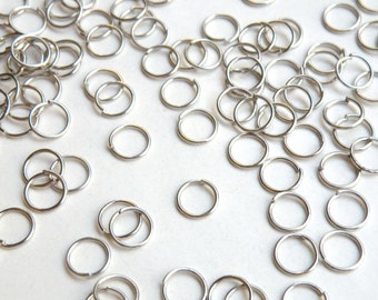 100 Round Jump Rings antique silver plated 8mm 20 gauge DB00311