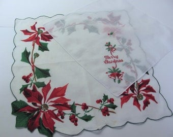 Two Merry Christmas Vintage Hankies, Print and Embroidery