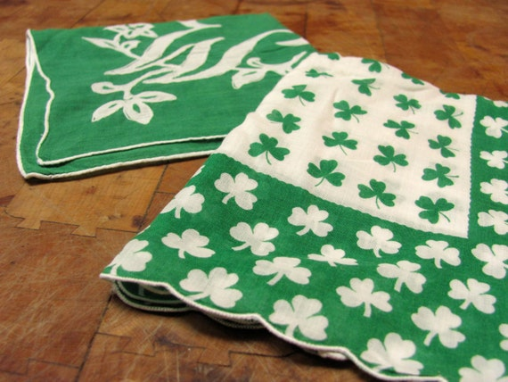 "Two Bright Green Hankies, Shamrocks, Monogram ""W"""