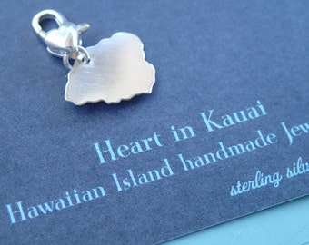 Kauai, Hawaii Jeweley, Love Kauai Sterling Charm handmade by Sparrow Seas Hawaiian Islands Jewelry, Maui