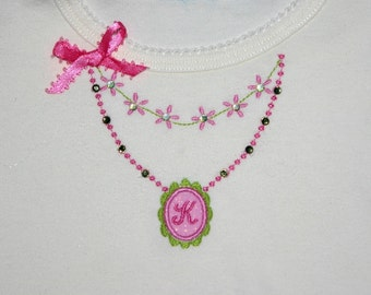 Necklace Machine Embroidery Applique Design-Add your own Monogram and Crystals-INSTANT DOWNLOAD
