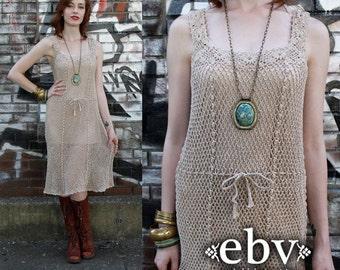 Vintage Hippie Dress Crochet Dress Festival Dress Hippy Dress Summer Dress Vintage 70s Beige Sheer Crochet Midi Dress XS S