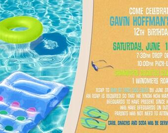 Pool Party Invitation - You Print OR I Print