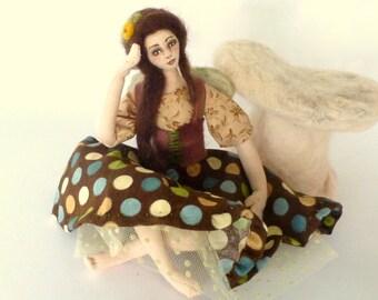 Art doll cloth fairy polkadot elf needle felted mushroom soft sculpture fibre art Ponder