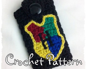 CROCHET PATTERN to make a Harry Potter Hogwarts Crest Phone Case for iPhone, iTouch, Samsung, android, or similar size devices. PDF Format